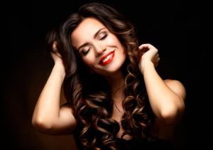 Brunette woman with hair extensions